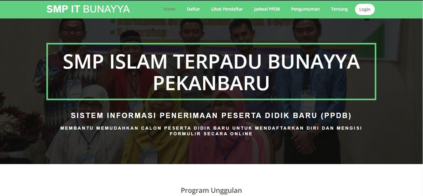 Sistem Informasi Penerimaan Peserta Didik Baru Pada SMPIT Bunayya